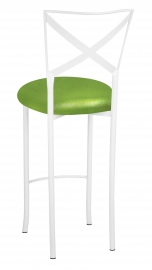 Simply X White Barstool with Metallic Lime Stretch Knit Cushion