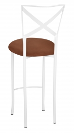 Simply X White Barstool with Cognac Suede Cushion