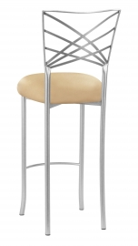 Silver Fanfare Barstool with Toffee Stretch Knit Cushion