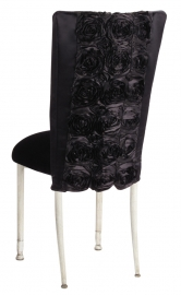 Black Rosette Chair Cover with Black Velvet Cushion on Ivory Legs