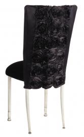 Black Rosette Chair Cover with Black Velvet Cushion on Ivory Legs