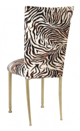 Zebra Stretch Knit Chair Cover and Cushion on Gold Legs
