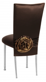 Brown Satin 3/4 Chair Cover with Rosette and Cushion on Silver Legs