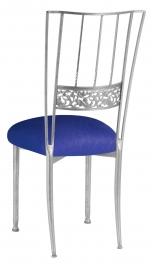 Silver Bella Fleur with Royal Blue Stretch Knit Cushion