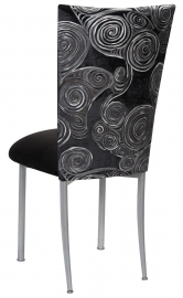 Black Swirl Velvet Chair Cover with Black Suede Cushion on Silver Legs
