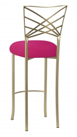 Gold Fanfare Barstool with Fuchsia Stretch Knit Cushion