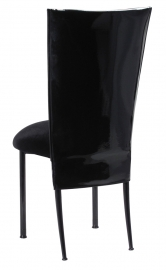 Black Patent 3/4 Chair Cover with Black Velvet Cushion on Black Legs
