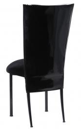 Black Patent 3/4 Chair Cover with Black Velvet Cushion on Black Legs