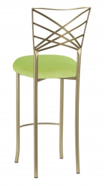 Gold Fanfare Barstool with Lime Velvet Cushion