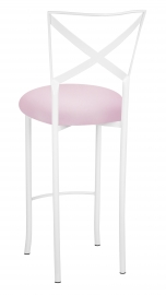 Simply X White Barstool with Soft Pink Stretch Knit Cushion