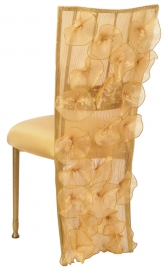 Ruffles with Lilybelle Chair Cover and Gold Stretch Knit Cushion on Gold Legs