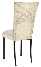 Two Tone Gold Fanfare with Ivory Lace Chair Cover and Ivory Lace over Ivory Stretch Knit Cushion