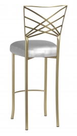 Gold Fanfare Barstool with Silver Leatherette Boxed Cushion