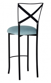 Blak. Barstool with Ice Blue Suede Cushion