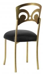 Gold Fleur de Lis with Black Leatherette Boxed Cushion