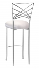 Silver Fanfare Barstool with Platinum Satin Cushion