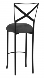 Blak. Barstool with Charcoal Linette Boxed Cushion