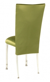 Lime Satin 3/4 Chair Cover and Cushion on Ivory Legs