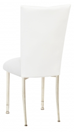 White Leatherette Chair Cover and Cushion on Ivory Legs