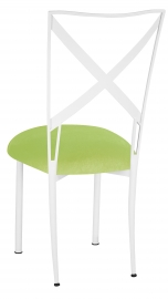 Simply X White with Lime Green Velvet Cushion