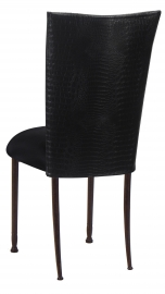 Matte Black Croc Chair Cover with Black Stretch Knit Cushion on Mahogany Legs