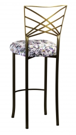 Two Tone Fanfare Barstool with White Paint Splatter Cushion