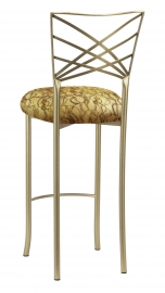 Gold Fanfare Barstool with Gold Lace over Gold Knit Cushion
