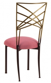 Two Tone Gold Fanfare with Raspberry Suede Cushion