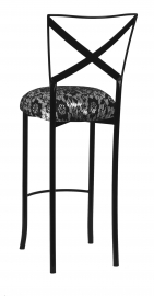 Blak. Barstool with Black Camisole Lace over Metallic Silver Stretch Knit Cushion