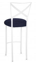 Simply X White Barstool with Navy Blue Suede Cushion