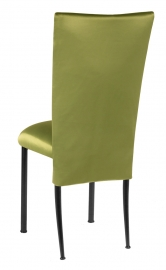 Lime Satin 3/4 Chair Cover and Cushion on Black Legs