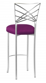 Silver Fanfare Barstool with Orchid Taffeta Boxed Cushion