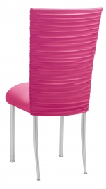 Chloe Fuchsia Stretch Knit Chair Cover and Cushion on Silver Legs