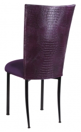 Purple Croc Chair Cover with Eggplant Velvet Cushion on Black Legs