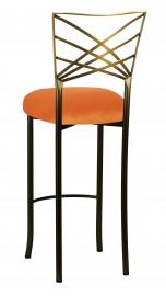 Two Tone Fanfare Barstool with Orange Velvet Cushion