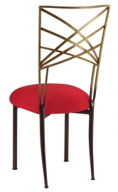 Two Tone Gold Fanfare with Red Stretch Knit Cushion