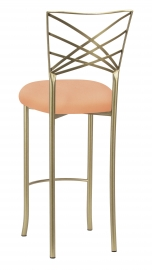 Gold Fanfare Barstool with Cantaloupe Knit Cushion