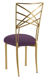 Gold Fanfare with Lilac Suede Cushion