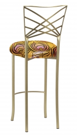 Gold Fanfare Barstool with Yellow and Pink Peacock Knit Cushion