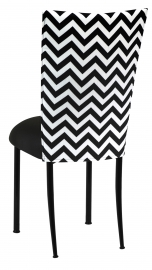 Chevron Chair Cover with Black Stretch Knit Cushion on Black Legs