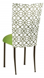 Blade Kaleidoscope Chair Cover with Lime Stretch Knit Cushion on Brown Legs