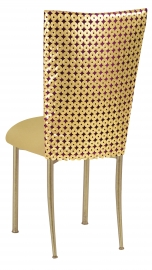 Dragon Eyes Chair Cover and Gold Knit Cushion on Gold Legs