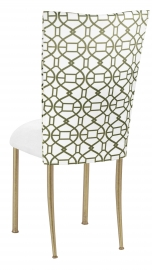 Blade Kaleidoscope Chair Cover with White Suede Cushion on Gold Legs