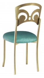 Gold Fleur de Lis with Turquoise Velvet Cushion