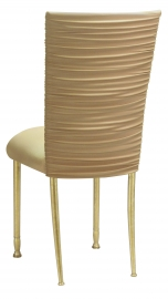 Chloe Gold Stretch Knit Chair Cover and Cushion on Gold Legs