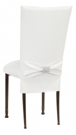 White Patent Chair Cover and Rhinestone Belt with White Stretch Knit Cushion on Mahogany Legs
