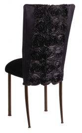 Black Rosette Chair Cover with Black Velvet Cushion on Brown Legs