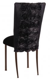 Black Rosette Chair Cover with Black Velvet Cushion on Brown Legs