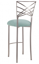 Silver Fanfare Barstool with Ice Blue Suede Cushion