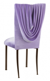 Lavender Velvet Cowl Neck Chair Cover and Cushion on Brown Legs